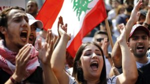 Protest against Whatsapp tax in Lebanon