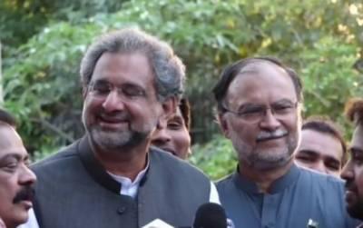 Shahid Khaqan Abbasi and Ahsan Iqbal