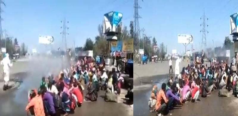 wash people on road